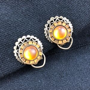 Vintage, Glass Cabochon, Clip Earrings